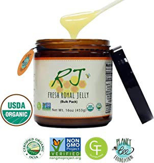 GREENBOW Organic Fresh Royal Jelly - 100% USDA Certified Organic, Pure, Gluten Free, Non-GMO Royal Jelly - One of The Most Nutrition Packed Diet Supplements - Highest Quality Royal Jelly - (453g)