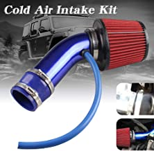 Sporacingrts Cold Air Intake Pipe, 76mm 3 Inch Universal Performance Car Cold Air Intake Turbo Filter Aluminum Automotive Air Filter Induction Flow Hose Pipe Kit (Blue)