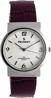 Peugeot Women Easy Reader Wrist Watch with Expandable Leather Bracelet