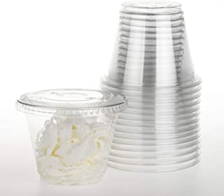 GOLDEN APPLE, 9oz-30sets Clear Plastic Cups with Clear Flat no Hole lids