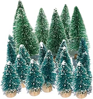 Small Flocked Artificial Christmas Tree Snow Globe Décor Cute Unique Mini Frosted Bottle Brush Trees Pretty Little Holiday Party Decorations 1-3/4'' & 3-3/8''H Green& Blue 20 Pack