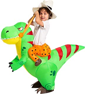 Inflatable Costume Dinosaur Riding a T-Rex Air Blow-up Deluxe Halloween Costume - Child/Adult