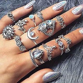 Ushiny Vintage Bloem Vingerringen Zilver Opaal Ring Set Maan Gesneden Vingerringen Trendy Stapelbare Ring Sieraden Accesso...