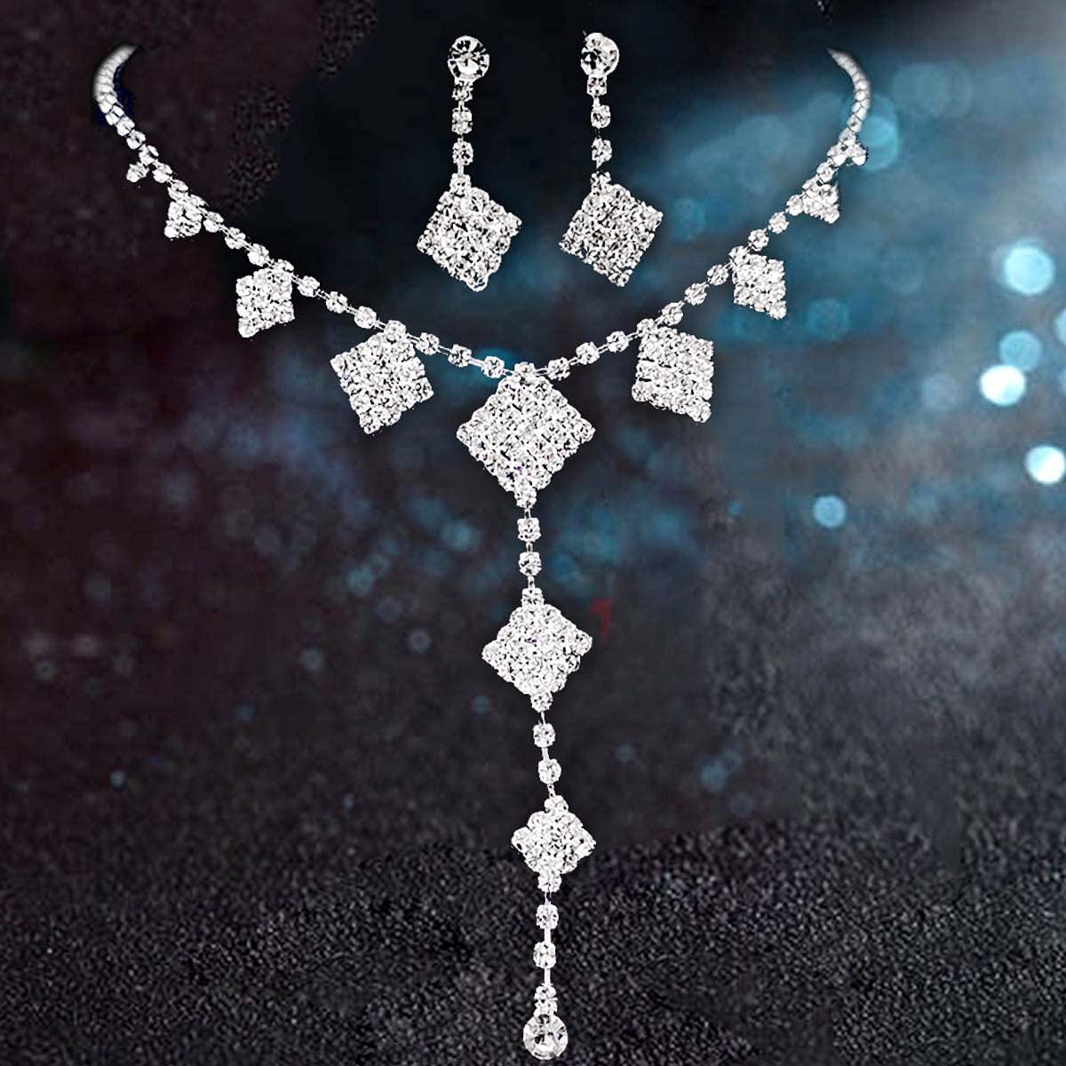 Shehamdy Elegant Bridesmaid Bridal Jewelry Set Bling Rhinestone Crystal NECKLACE+EARRINGS SET Women Wedding Party Jewelry Sets (Set -H)