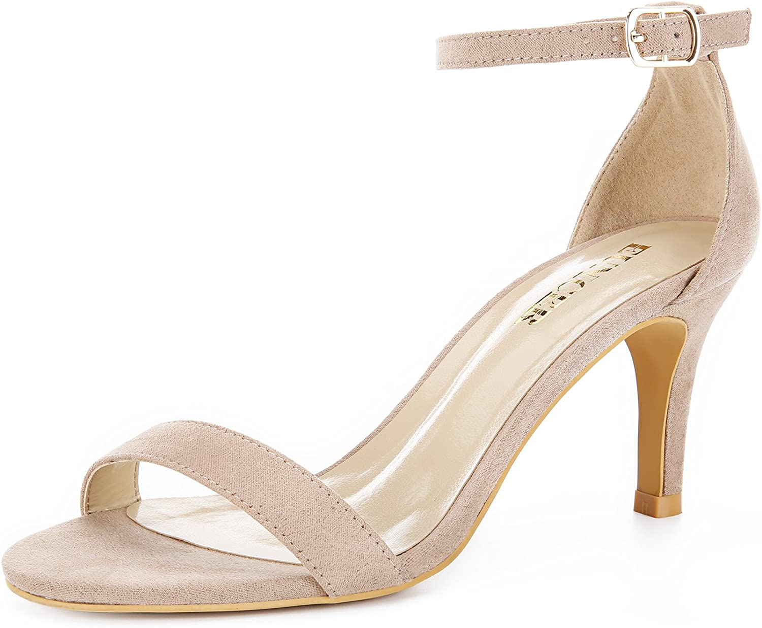 Eunicer Women's Open Toe Ankle Strap High Heel Stiletto Sandal Wedding Party shoes (Black and Nude)