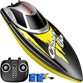 Remote Control Boat, SYMA Q7 Boat for Pools and Lakes with 2.4GHz 25km/h High Speed, Capsize Recovery, Low Battery Reminder, Special Water-Cooled System Toys for Kids or Adults(Yellow)