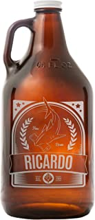 Everything Etched Personalized 64 Oz Amber Beer Growler | Custom Engraved Gift Idea For Beer Lovers – Customize with Your Name & Message