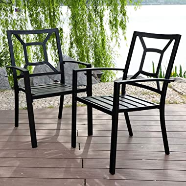 PHI VILLA Patio Metal Dining Chair Set of 2, Stackable Steel Arm Chairs for Outdoor, Deck, Yard - Black