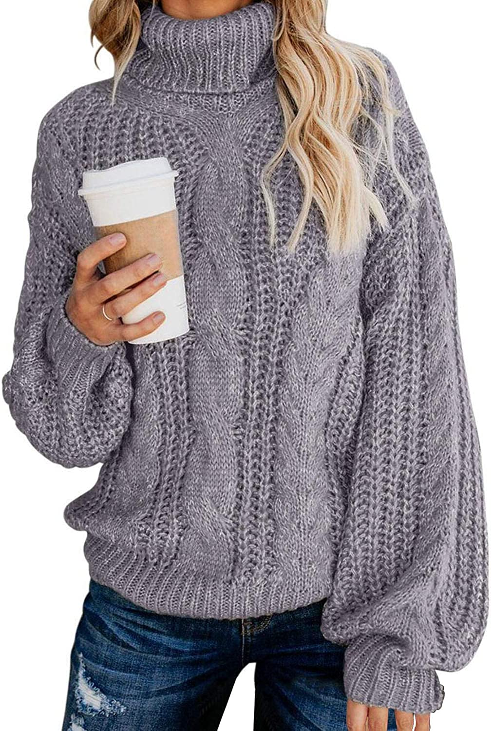 Chase Secret Womens Turtle Cowl Neck Solid Color Soft Comfy Cable Knit Pullover Sweaters S-2XL