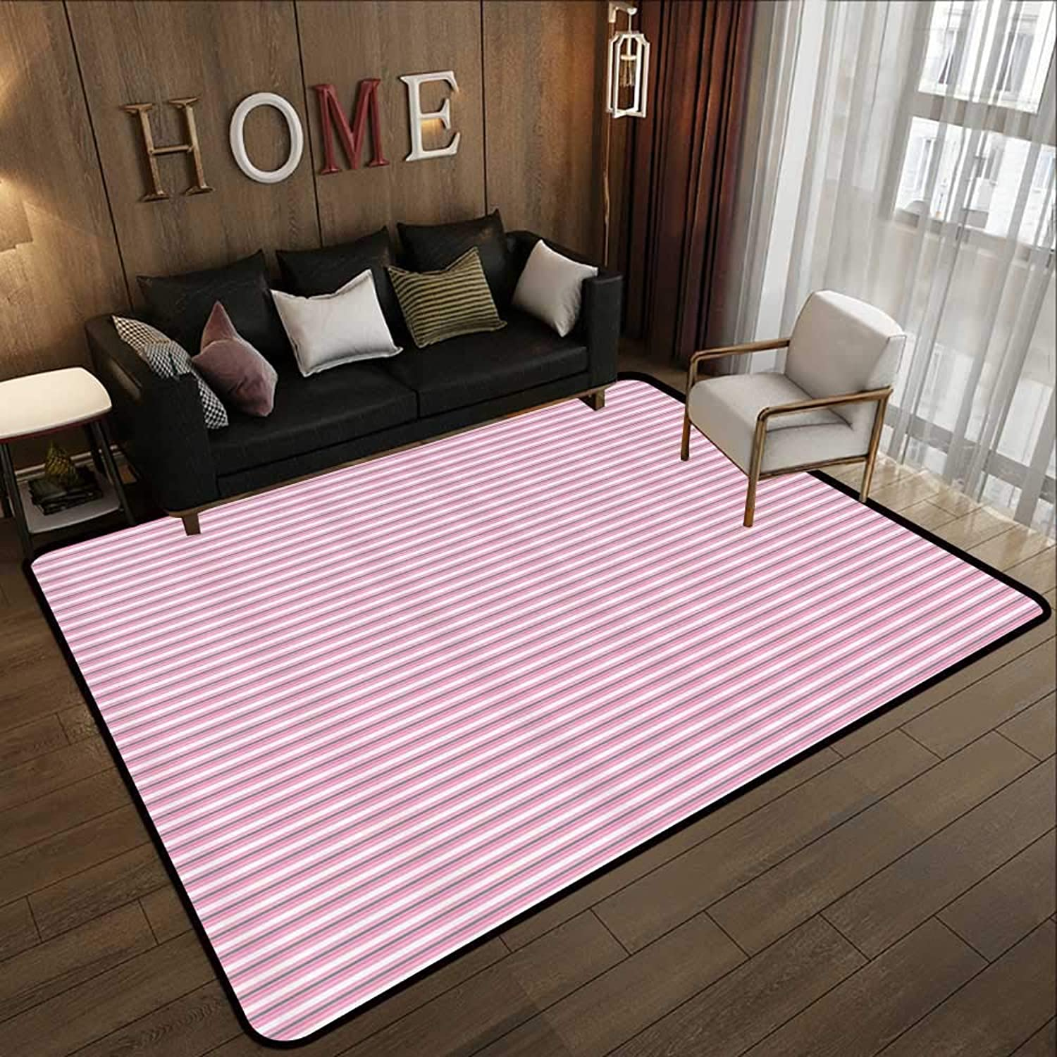 Carpet mat,Geometric,Striped Pattern with Pink Tones Thick and Tiny Lines Modern Illustration,Pink Grey White 47 x 71  Floor Mat Entrance Doormat