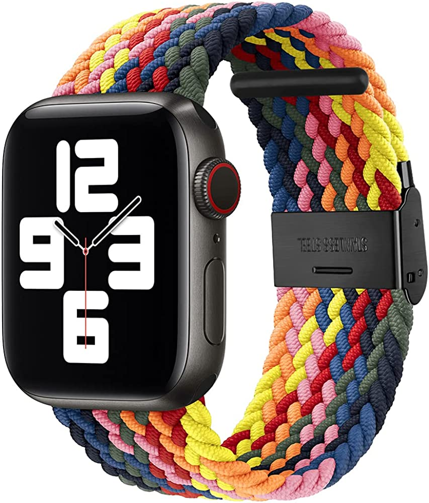 KSOM Compatible with Apple Watch Bands 38mm 40mm 42mm 44mm, Stretchable Braided Solo Loop Elastics Women Men Replacement Sport Wristband for iWatch Series 6/SE/5/4/3/2/1 with Black Buckles