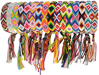 obmwang 16 Pieces Nepal Woven Friendship Bracelets Adjustable Braided Bracelets with a Sliding Knot Closure for Kids, Girls, Women and Men