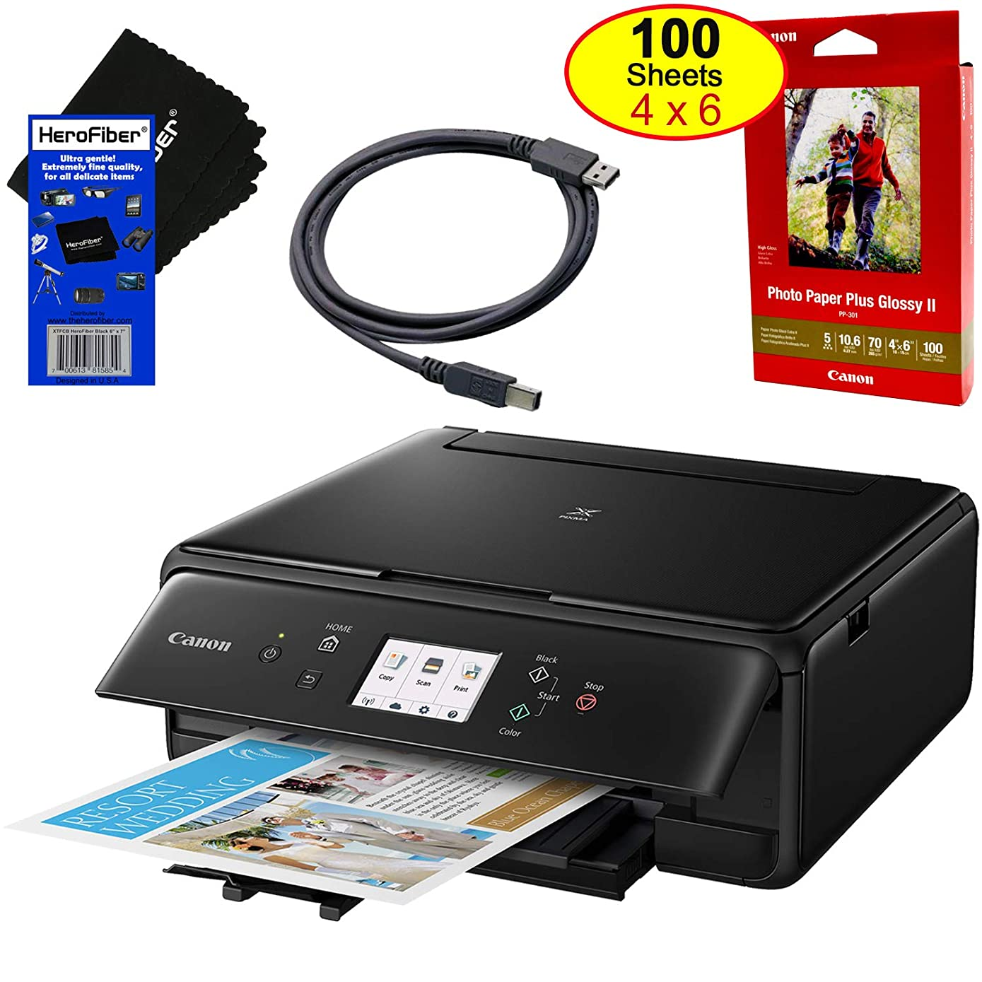 Canon 4800 x 1200dpi Wireless Inkjet All-in one Printer (Black) with Scan, Copy, Mobile Printing, Airprint & Google Cloud + Set of Ink Tanks + Photo Paper (100 Pack) + USB Printer Cable + HeroFiber