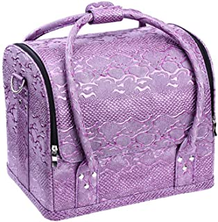 Large Make Up Bag Makeup Case Waterproof Makeup Organizer Toiletry Cosmetic Bag for Women (Color : Purple)