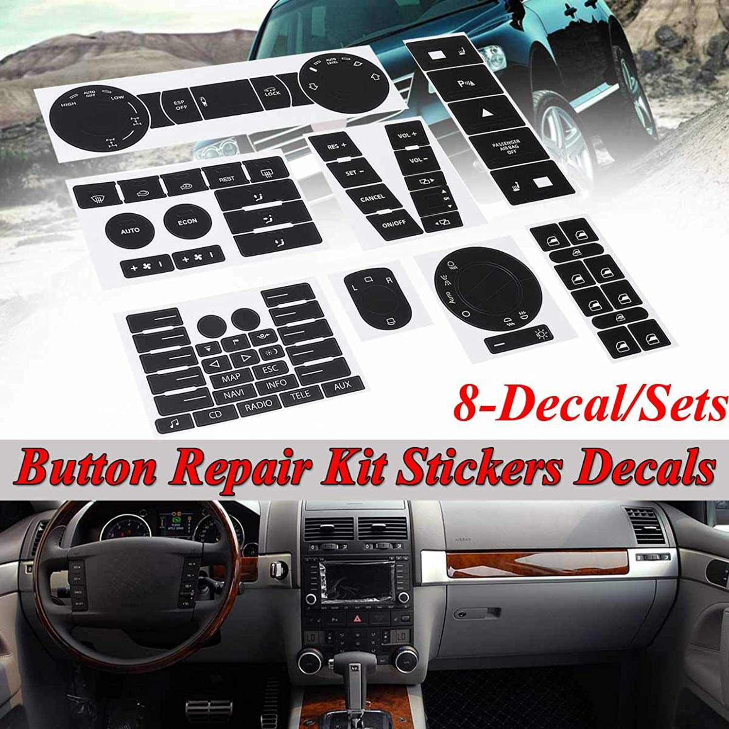 8pcs Car Steering Wheel Windows Headlight Climate Switch Button Repair Stickers Decals for VW for Volkswagen Touareg 20042009