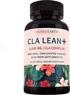 CLA LEAN+ Active Weight Loss, All Natural, Non-GMO, 80% Potent CLA from Safflower Oil, 60 Softgels, For Men and Women, Mad...