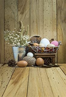DaShan 3x5ft Photography Backdrop Easter Eggs Fresh Flowers Pine Cone Metal Bucket Stripes Wood Plank Vintage Wooden Floor Photo Background Backdrops Photography Video Party Kids Photo Studio Props