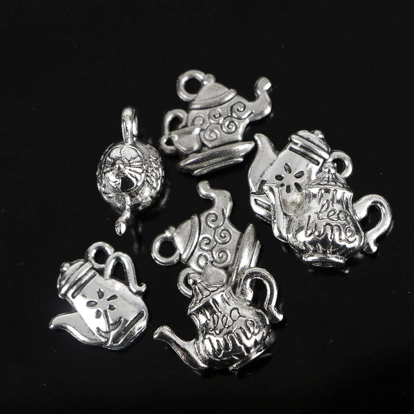 Monrocco 60 pcs Teapot Charms Antique Silver Kettle Pendant Charms