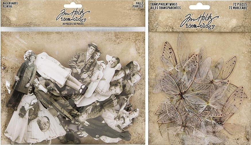 Idea-ology Tim Holtz Baseboard Dolls and Transparent Wings - 2 Item Bundle