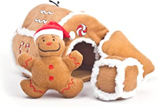 Outward Hound Kyjen 31021 Gingerbread House Squeaking Puzzle Plush Dog Toy Holiday and Christmas Dog Toys, Large, Brown