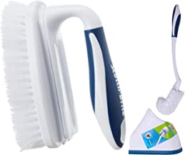 Scotch-Brite Toilet Plastic Brush with Round Container (Blue/White) (Blue/White) & Scotch Brite Household Scrubber Brush