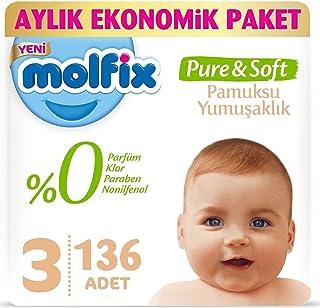 Molfix Pure Soft Ekonomik Beden:3 (4-9Kg) Midi 136 Adet Bebek Bezi