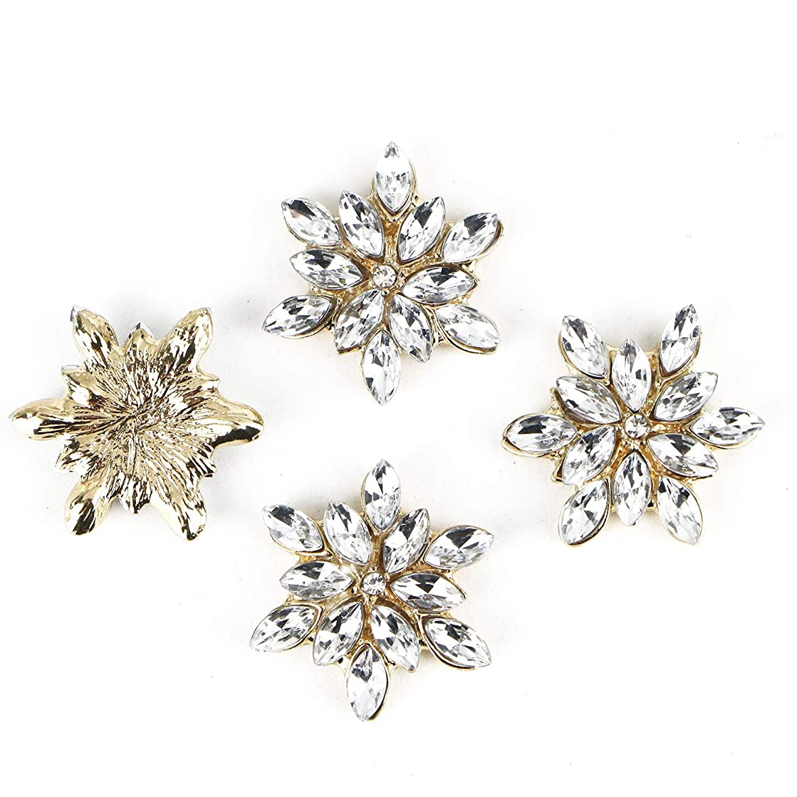 Monrocco 10 Pcs Crystal Rhinestone Flower Buttons Flatback Embellishments Charm for Crafts Jewelry Making