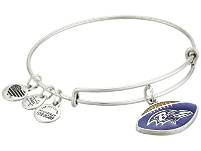 Alex and Ani Color Infusion Baltimore Ravens Football II Bangle (Rafaelian Silver) Bracelet