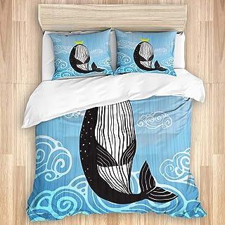 Juego de funda nórdica de 3 piezas, lindo diseño de estampado de ballena, luna y océano, juegos de fundas de edredón de microfibra de lujo para dormitorio, colcha con cremallera con 2 fundas de almoha