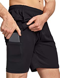 TSLA Men's Active Running Shorts, Training Exercise Workout Shorts, Quick Dry Gym Athletic Shorts with Pockets 7""