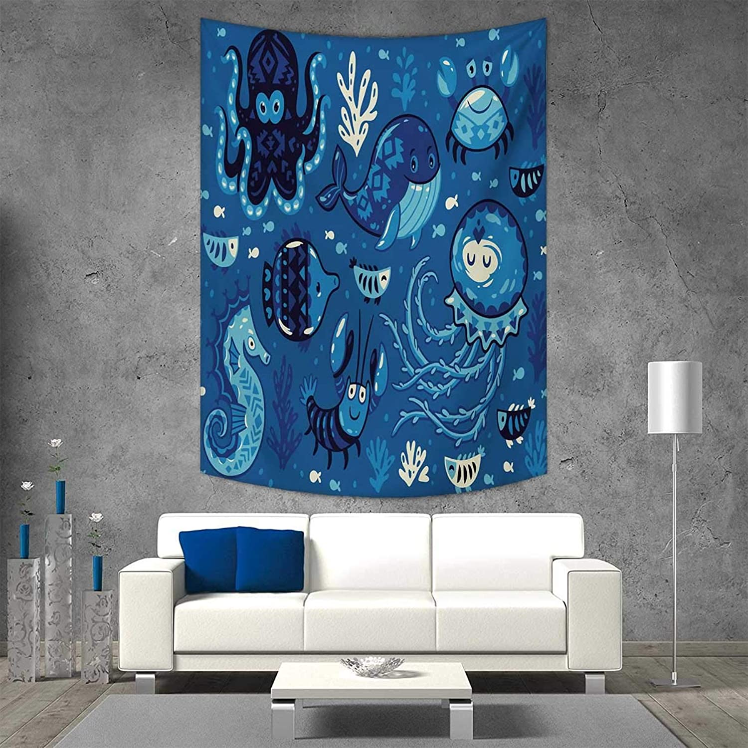 Smallbeefly Ocean greenical Version Tapestry Deep Sealife Cute Sweet Cartoon Style Animals Little Whale Fish Octopus Moss Print Throw, Bed, Tapestry Yoga Blanket 54W x 72L INCH bluee