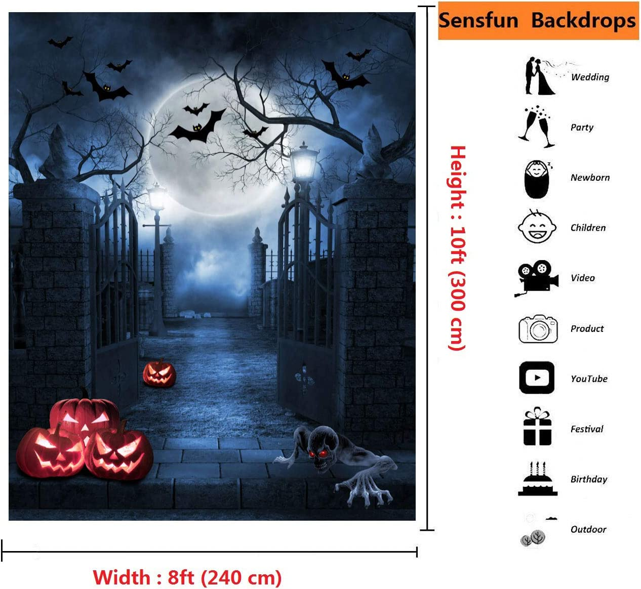 Sensfun Halloween Photography Backdrop Creepy Graveyard Entrance Cool Pumpkin Ghost Bat Moon Night Background for Halloween Haunted House Horror Party Decor Kids Adult Portrait Photoshoot Props 8x10ft