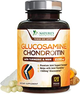 Glucosamine with Chondroitin Turmeric Supplement, Triple Strength Standardized 2100mg with Boswellia & Bromelain - Made in...