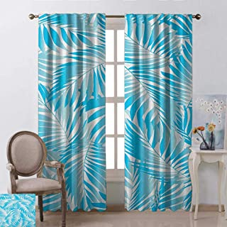 GUUVOR Leaf 99% Blackout Curtains Miami Tropical Aquatic Palm Leaves with Exotic Colors Modern Summer Beach for Bedroom Kindergarten Living Room W52 x L84 Inch Turquoise Aqua Blue