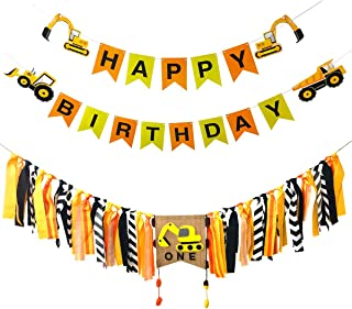 Cieovo Construction Themed Happy Birthday Banner and Handmade 1st Birthday Party Highchair Banner Bunting Garland Decorations for Party Supplies