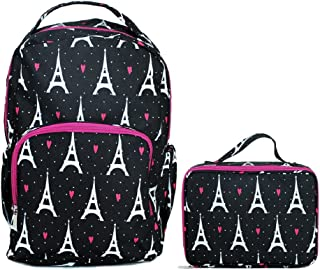 Paris Hearts Eiffel Tower Reinforced and Water Resistant Backpack and Lunch Bag Tote 2 Piece Set