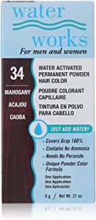 Water Works Water Activated Permanent Powder Hair Color for Men and Women, 34 Mahogany