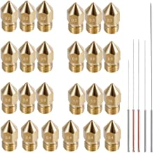 AFUNTA 24pcs MK8 Brass Extruder Nozzle Print Head & 5pcs Cleaning Needles for 1.75mm Makerbot Creality CR-10 ANET A8 CR-10 M6 3D Printer,7 Different Sizes 0.2mm,0.3mm,0.4mm,0.5mm,0.6mm,0.8mm,1.0mm