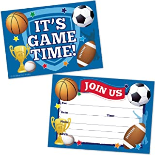 Sports Birthday Party Invitations - Football, Basketball, Soccer, Baseball, Trophy Design - (20 Count with Envelopes)