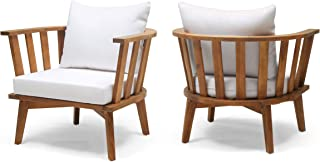 Dean Outdoor Wooden Club Chair with Cushions (Set of 2), White and Teak Finish