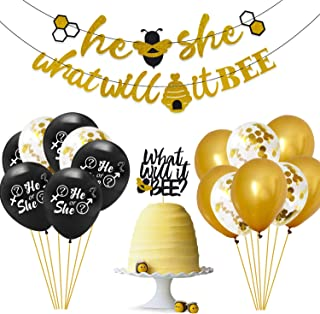 What Will It Bee Gender Reveal Party Decorations Set - He or She Bee Banner,Bumble Bee Cake Topper,12