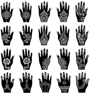 Henna Tattoo Stencil Kit/Temporary Tattoo Template Set of 20 Sheets, Indian Arabian Tattoo Stickers Mehndi Stencils Body Art Designs for Hands