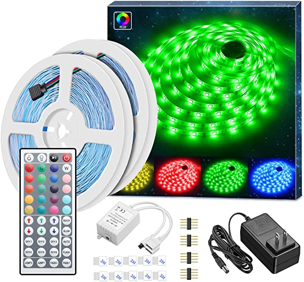 Led Strip Lights Kit MINGER 32 8Ft RGB Light Strip With Remote Controller Box And Support Clips Ideal For Room Bedroom Home Kitchen Cabinet Party Decoration 12V 3A Power Supply Non Waterproof