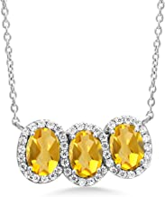 Gem Stone King 925 Sterling Silver Yellow Citrine 3-Stone Necklace For Women 2.25 Ct Oval with 18 Inch Chain