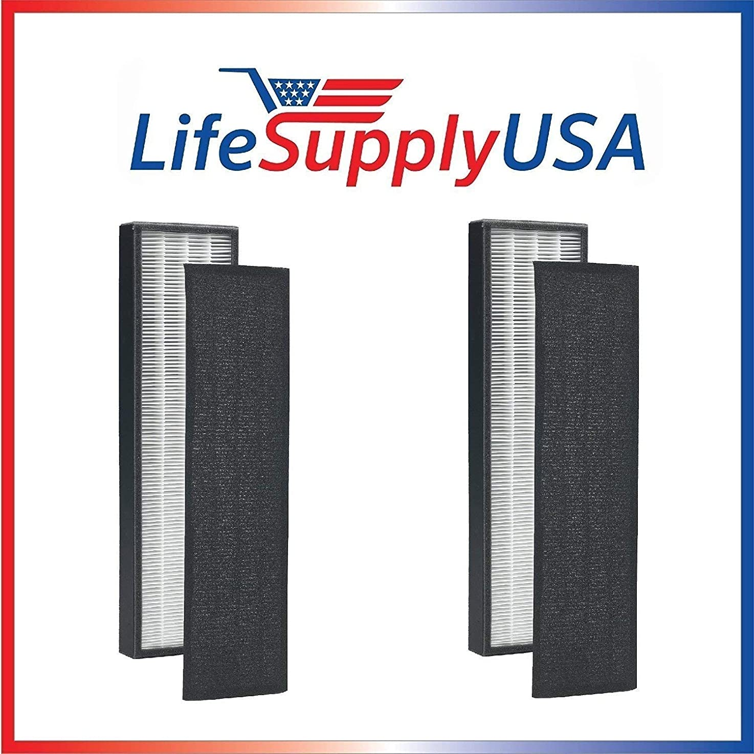 LifeSupplyUSA 2 Pack - True HEPA + Pre Filter Replacement Filter for C FLT5250 PET Germ Guardian Will fit Germguardian 5000 5111 and 5250