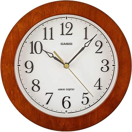 CASIO(カシオ) 掛け時計 電波 ブラウン 直径23.5cm アナログ 木枠 夜間秒針停止 IQ-1107J-5JF