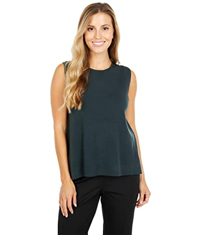 Eileen Fisher Crew Neck Shell (Forest Night) Women