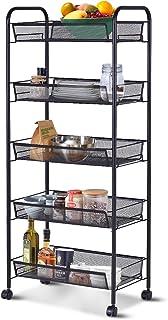 Giantex Storage Rack Trolley Cart Home Kitchen Organizer Utility Baskets (5 Tier, Black)