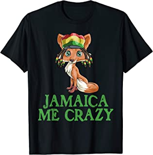 Jamaican Me Crazy Flag Fox T shirt Hair Funny Reggae Gift