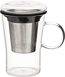VAHDAM, Sparkle- Glass Tea Cup with Infuser | 16 oz- 500ml | Loose Leaf Tea Infuser | Loose Tea Steeper | Tea Mug with Lid | Tea Infuser Mug | Tea Cup with Lid | Scratch Resistant & Microwave Safe